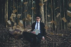New Beginnings (danielwolfhart) Tags: lake selfportrait photography flying woods forrest pages daniel floating melbourne books olympus lysterfield em1 wolfhart danielwolfhart danielwolfhartphotography
