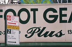 Foot Gear Plus (Patrick Copley) Tags: nyc eastvillage film 35mm signage typeface canonae1p fujipro400h canonllens canonfd85200mmf4l