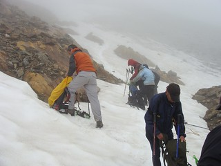 preparing for bad weather in the snowy mountains