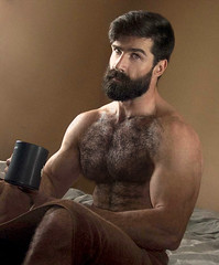 1154 (rrttrrtt555) Tags: hairy cup coffee muscles hair beard bed bedroom eyes arms legs masculine chest lounge towel attitude mug stare shoulders