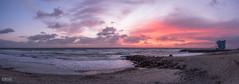 Carlsbad, CA (IG: cruzphotos) Tags: sunset cloud sun beach water beautiful clouds landscape waves cloudy pano lifeguard olympus panoramic omd lifeguardtower em5mkii