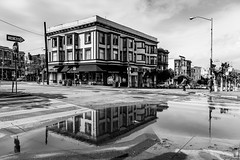 After The Rain (Sean Batten) Tags: sanfrancisco california street city urban blackandwhite bw usa reflection building water america puddle us nikon unitedstates streetphotography stop oneway d800 filbertstreet 2470 victoriapastrycompany