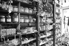 Souk Shelves (sea turtle) Tags: seattle city urban blackandwhite bw shop blackwhite store downtown market shops souk pikeplacemarket grocery indianmarket stores pikemarket