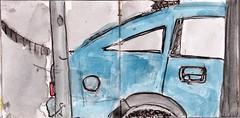warum mussten alle Autos schwarz sein. Seines war blau. Blau war das Seine (raumoberbayern) Tags: summer bus pencil subway munich mnchen sketch drawing sommer tram sketchbook heat ubahn draw bleistift robbbilder skizzenbuch zeichung