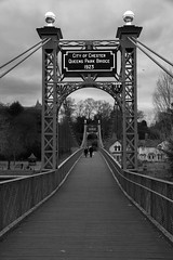 queens park bridge mono (downhamdave) Tags: park bridge england white black monochrome canon river eos mono cheshire footbridge chester queens dee 60d elements13