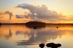 Stillness speaks (jtunkelo) Tags: sunset sunlight mist beach misty fog finland mirror spring helsinki foggy sunsets beaches archipelago ranta auringonlasku peili kallahti peilityyni