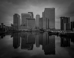 Blackwall (Robgreen13) Tags: city uk bw reflection london monochrome architecture cityscape cloudy canarywharf riverthames blackwall