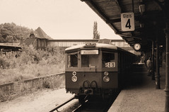 Once upon a time - Germany - West Berlin Bahnhof Gesundbrunnen (railasia) Tags: monochrome station germany sbahn eighties infra westberlin gesundbrunnen bvg thirdrail stationclock platfrom routes2 lostline lostplatform platformdelights