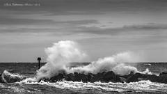 Spray (rhfo2o - rick hathaway photography) Tags: blackandwhite bw beach canon mono se seaside waves westsussex elmer bognor seadefences elmersands canoneos7d groynemarker rhfo2o