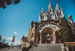 sagrat cor (philipp_mitterlehner) Tags: barcelona travel sky church spring spain view colourful tibidabo