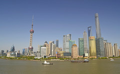 Pudong, Shanghai - April 2016 (alphawhiskey) Tags: blue sky skyline river nikon skyscrapers shanghai sunny pudong huangpu d3100
