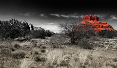 Are Cupid and the Devil one and the same (John A. McCrae) Tags: red arizona blackandwhite usa mountain painterly color photoshop landscape outdoors colours unitedstates sedona redrock bellrock pentaxk5