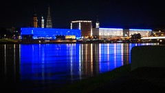 When I'm Feeling Blue ... (karlbauernhansl) Tags: city blue museum night reflections linz town nacht led stadt ufer danube banks reflexionen donau lentos