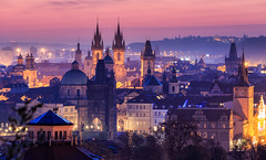 The city of a hundred spires (One_Penny) Tags: city morning travel sky urban tower church colors skyline architecture buildings photography dawn lights early town twilight cityscape view prague prag praha tschechien spire czechrepublic charlesbridge tones tynchurch oldcity karlsbrcke teynkirche canon6d
