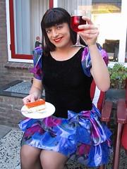 Cheers (Paula Satijn) Tags: blue girl cake shiny dress silk skirt tgirl transvestite pastry cheers satin miniskirt tompouce gulr