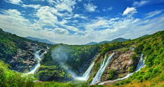 Shivanasamudra Falls (Anirban.243) Tags: sky panorama cloud india canon river waterfall noon karnataka kaveri hdr