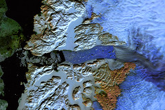 Landsat image of glaciers and icebergs, Disko Bay, Qaasuitsup, western Greenland (cocoi_m) Tags: snow ice nature satellite glacier greenland geology landsat icefield glacial geomorphology falsecolor ilulissat diskobay landsatimage claushavn