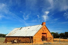 Bright Sky (HOLLY HOP) Tags: blue sky abandoned home architecture clouds farmhouse barn decay farm shed australia victoria historic derelict redbrick centralvictoria inexplore droppedfromexplore dunolly