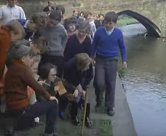 Too much of a temptation (theirhistory) Tags: trip bridge school girls boys water children canal path class trousers form wellies jumpers outing wellingtons
