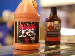 Scorching! (Travis Estell) Tags: ohio farmersmarket cincinnati condiments hotsauce publicmarket overtherhine findlaymarket carolinareaperwingsauce