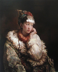 Tang Wei Min ()  Distant Thoughts, 2005. Painting: Oil on canvas. Via Art of Darkness: Daily Art Blog (ArtAppreciated) Tags: road favorite art history girl beautiful beauty female portraits painting living head contemporary fineart great chinese silk blogs fave portraiture artists faves wei gaze min figurative tang realism headdress 2000s covering photorealism hyperrealism artblogs tumblr artoftheday artofdarkness artappreciated artofdarknessco artofdarknessblog