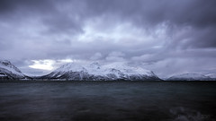 a stormy day in the high North (lunaryuna) Tags: longexposure winter sky panorama mountains water weather norway season landscape coast mood availablelight le fjord lunaryuna cloudscape roughsea northernnorway ullsfjorden tromsfylke arcticregion fleetingclouds seasonalwonders winterabovethearcticcircle