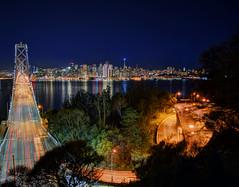 SF Cityscape2 (dkory83) Tags: sf sanfrancisco california longexposure reflection night landscape bay nikon cityscape treasureisland baybridge bayarea eastbay lighttrails i80 dslr bae landscapephotography longexpo