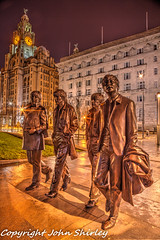Beatles HDR (johnshirley59) Tags: city fab music building art musicians architecture night liverpool john paul four photography george long exposure waterfront time band statues nighttime beatles publicart lennon ringo cunard mccartney hdr pierhead fabfour liverbuilding bracketing merseybeat sculprure