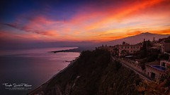 RED (Fausto Schiliro' R. (faustoschilirorubino.com)) Tags: sunset red italy seascape colors clouds landscape volcano sicily taormina etna vulcano suggestive