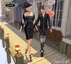 Sabrymoon and Spice wearing Destiny Style Barbra dress black and Natan shirt and pants @ Swank February (Two Too Fashion) Tags: fashion dress style event secondlife casual swank stylish casualchic fashiondress secondlifemodel elegantdress casualoutfit destinystyle twotoofashion swankfebruaryround barbradressblack natanshirtpinstripes natanpantsblackspecial