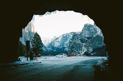 . (Kellen Mohr) Tags: winter snow mountains film ice sunrise 35mm kodak backpacking yosemite halfdome yosemitenationalpark elcapitan portra touring ynp tunnelview wintercamping kellenmohr
