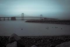 Foggy Bridge (iamjoelcris) Tags: bridge winter water fog rocks ducks