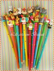 Lpis Circo (Lili Arte em biscuit) Tags: arte circo biscuit macaco lpis em festa coelho lili leo palhao elefante colorido tema cartola pintado personalizado lembrancinha decorado ponteira