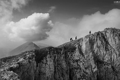 54 Into the clouds (kana movana) Tags: above travel people bw cliff cloud dog mountain mountains nature rock high top serbia scene tourists climbing mountaineering summit travelers d90