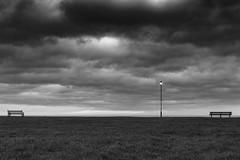 Seaview (John Pettigrew) Tags: light sky cloud storm beach lamp bench seaside nikon seat great norfolk minimal d750 yarmouth tamron minimalist gorleston 2470mm