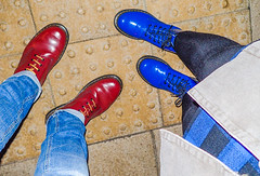Red and Blue Dr Martens. (CWhatPhotos) Tags: pictures above camera red woman man male leather yellow female that photography boot foto looking hole image boots artistic pics 10 dr picture 8 down pic olympus images have photographs together photograph footwear fotos stitching doc tough which dm docs contain airwair patent dms oxblood 1460 1490 tg4 cwhatphotos