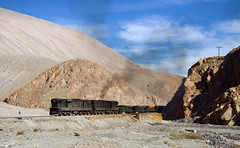 A pair of locomotives in matching colors? Cool! ... wait, they're just dirty. (david_gubler) Tags: chile train railway llanta potrerillos ferronor