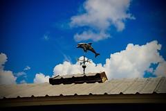 Dolphin Weathervane - Boathouse - Hilton Head SC (Meridith112) Tags: roof summer sky cloud clouds nikon dolphin august bluesky hi weathervane boathouse hiltonhead 2015 beaufortcounty nikon2485 skullcreek nikond610