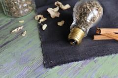 Creativitea (aadalton0415) Tags: lightbulb ginger tea cinnamon think create tulsi kava holybasil kavakava creativitea
