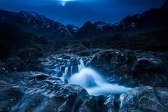 Path to the Fairy Pools (devlin11) Tags: morning moon mountains reflection skye water rock night scotland waterfall nikon scenery isleofskye path hills fairy pools isle cuillin d810