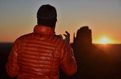 Monument Valley (Kevin.Donegan) Tags: camera light red arizona usa sun mountain man america sunrise utah butte photographer shine jacket navajo monumentvalley coad