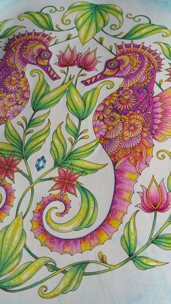 Seahorses From Johanna Basfords Lost Ocean Colouring Book Sacredrosecrafts Tags