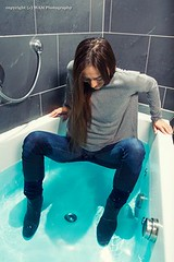 Dominikas bathtub shooting (Wet and Messy Photography) Tags: woman wet water girl shower model jeans turtleneck slime wethair soaked dominika wetlook wetclothes wetjeans slimed
