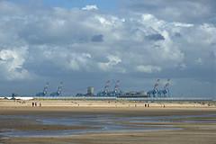 Seaforth Docks (pentlandpirate) Tags: beach port liverpool docks statues container crosby antonygormley gantry merseyside seaforth