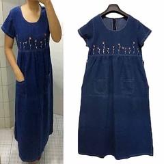 ชุดยีนส์ยาว ปักลายดอกไม้แฟชั่นเกาหลีแขนสั้น Denim Dress ส่งออก สีน้ำเงิน - พร้อมส่งTJ7651 ราคา1050บาท โทรสั่งของกับ พี่โน๊ต/พี่เจี๊ยบ : 083-1797221, 086-3320788 LINE User ID : @lotusnoss และ lotusnoss.com เข้าชมและสั่งซื้อสินค้าได้ที่ : http://www.lotusno