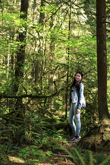 Forest (sandrachen07191) Tags: park trip bridge trees portrait brown lake color tree green water colors girl vancouver stairs forest landscape waterfall model friend rocks bc suspension outdoor hiking sunny canyon hike lynn shore balance suspensionbridge lynncanyon pathway 30ftpool
