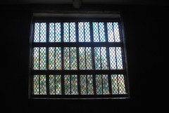 Through the stained glass window (zawtowers) Tags: house window glass century outside hall looking cheshire little timber framed property stained national trust manor 15th congleton moreton moated