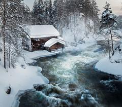 Kuusamo (Oscar Keserci Photography) Tags: winter house snow cold mill sunrise suomi river landscapes europe force explore lapland d750 kuusamo scandinavia nkon finand 14mm samyang awter oscarkeserci