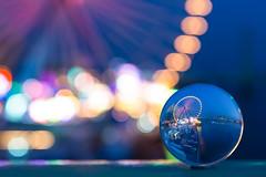 Cologne fair captured in a crystal ball (different view point) (Vivien J-Dora) Tags: lights colours bokeh cologne fair köln ferriswheel funfair kirmes riesenrad crystalball deutz glaskugel kranhäuser 5dmarkiii