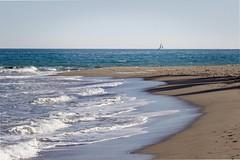 Beach (Cristina Mateos) Tags: trip travel blue summer costa beach nature water canon landscape coast mar sand agua holidays barco playa paisaje arena ocano airelibre orilladelmar